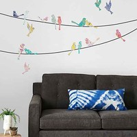 Walls Need Love Paisley Birds On Wire Wall Decal- Multi One