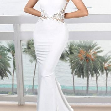 White Love Lace Grenadine Mermaid Bodycon Elegant Banquet Party Wedding Maxi Dress