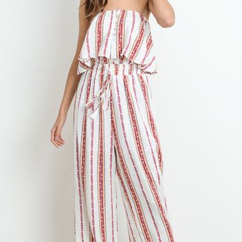 Island Holiday Vertical Stripe Pattern Strapless Flounce Top Wide Leg Jumpsuit - 2 Colors Available