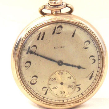 Vintage Elgin Pocket Watch, Manual Wind, Gold Filled