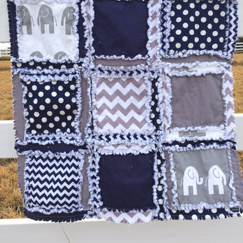 RAG QUILT, Elephant Baby Blanket in Navy Blue and Gray Made to Order