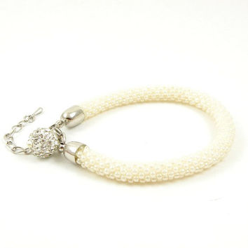 Ivory beads crochet rope bracelet , beadwork jewelry , beaded bracelet