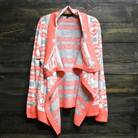 cozy bonfire aztec print tribal cardigan in neon pink