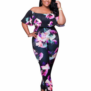 S-4XL Plus Size New Women Jumpsuits Rompers 2016 Fashion Ladies Long Zipper Bodysuit