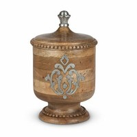 GG Collection Heritage Wood and Metal Inlay Small Canister 12""