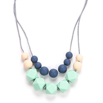 Marotaro 'Harper' Designer Teething Necklace & Gift Box, 4-in-1 Chewiness Levels - JPN Electric Blue