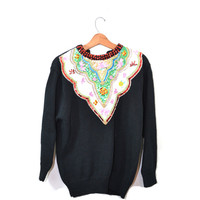 Vintage Sweater Pullover Sweater Beaded Sequins Sweater 80s Sweater Black Sweater Women's Sweater Beaded Sweater