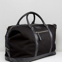 Sandqvist Cotton Canvas & Leather Weekend Bag at asos.com