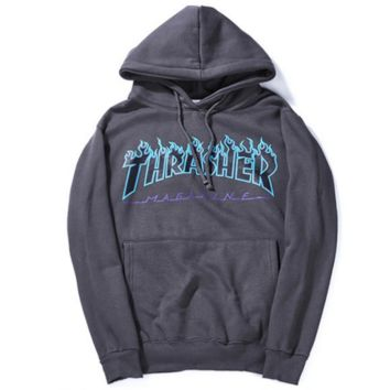 Thrasher Flame sweater thick sets hooded long-sleeved loose couple coat Dark grey
