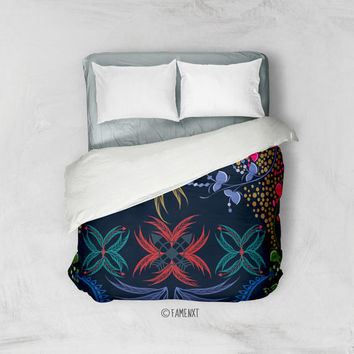 Duvet Cover, Bohemian duvet cover, Gold bedding, Feather bedding, Boho Bedding Home Interior Decoration