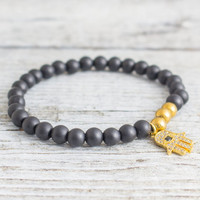 Matte black onyx beaded stretchy bracelet with micro pave gold Hamsa hand charm, made to order bracelet,  mens bracelet, womens bracelet