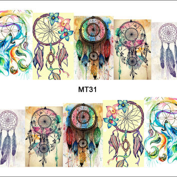 1 Sheet Nail MT31 Full Cover Color Dream Catcher POP Nail Art Water Transfer Sticker Decal For Nail Art Tattoo DIY Nail Tool