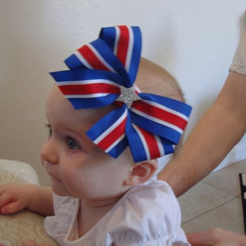 4th of July Red White and Blue Bow with Glitter by BaileyHadaParty