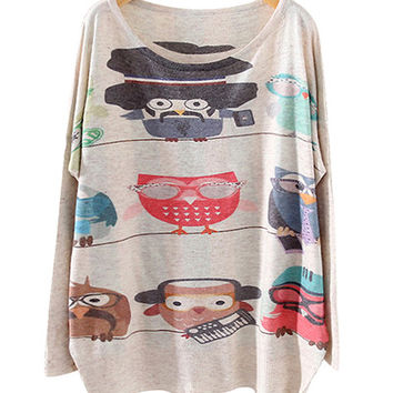 Nude Bird Print Sweater
