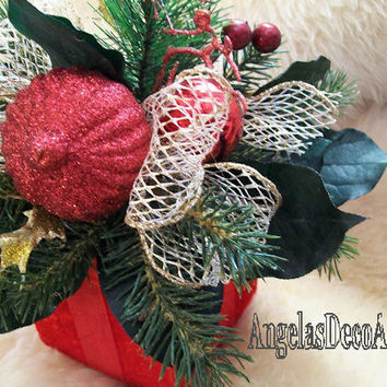 Gift Box Arrangement, Winter Silk Floral, Traditional Decor, Dual Purpose Gift, Christmas, Red Green Gold, Faux Evergreens, Bauble Accent