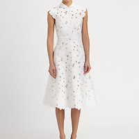 Valentino - Daisy Piqué Embroidered Dress