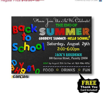 CIJ SALE Back To School Party Invitation Printable, End of summer Party Invitation - Chalkboard Back to School - Celebration For a New Schoo