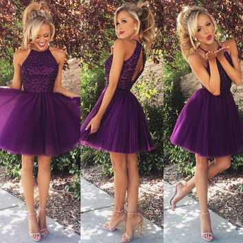 Princess Ball Gown Sequins Beadings Crystals Halter Ruched Tulle Purple Cocktail Dresses Backless vestidos de coctel