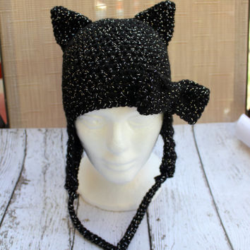 Black Cat Crochet Hat Earflap Beanie with Bow, Animal Hat, Halloween Costume Accessory, Photo Prop, Picture Pic Prop, Baby, Infant, Child