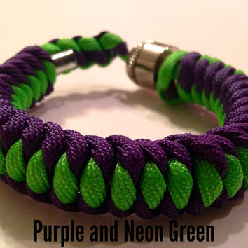 Purple and Neon Green Stealthy Secret Pipe Bracelet w/ FREE SHIPPING