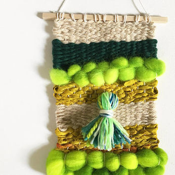 Handwoven Wall Art / Woven Wall Hanging Tapestry / Fiber Art / Neon Green, Chartreuse, Beige, Emerald, Sari Silk and Wool