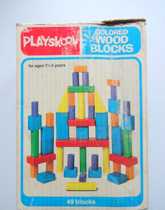 Vintage playskool colored wooden block from wylieowlvintage on