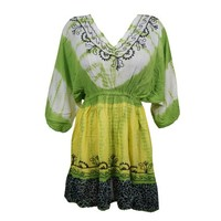 Mogul Womens Tie Dye Sundress Floral Embroidered Loose Rayon Summer Cover Up Dress - Walmart.com