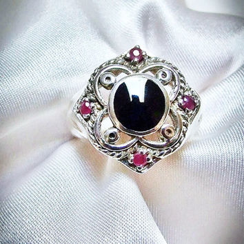 Vintage Ruby Ring, Black Onyx, Sterling Silver Moorish Quatrefoil Clover Gothic  Ring, Byzantine, Four Natural Red Rubies, Bezel Black Onyx