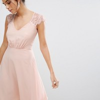 Elise Ryan V Neck Midi Dress With Eyelash Lace Sleeve at asos.com