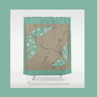 Rustic dragonfly shower curtain dragonflies bathroom decor custom showercurtain