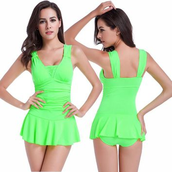 Sexy One Piece Swimsuit Ruched V Neck for Women
