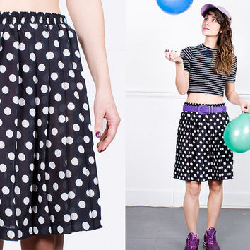 Black Skirt With White Polka Dot 80s Short Sheer Vintage 1980s