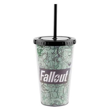 16oz Fallout Green Vault Boy PREMIUM Tumbler Travel Cup GIFT with Screw-On Lid and Acrylic Straw
