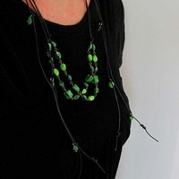 Lariat Necklace Green Stone Leather Beaded Wrap Recycled Repurposed Jewelry