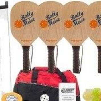 Rally Meister Pickleball Set - 4 Wood Paddles/Net System/Balls/Bag.Line Tape/Rulebook