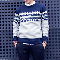Geometric Print Men Knitted Sweater