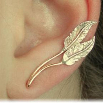 Feather Ear Pin - Sterling Silver and Gold Filled - PAIR