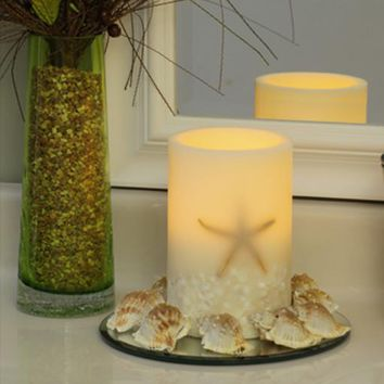 """Oceanside Starfish and Shells 4"""" x 6""""  Flameless LED Ivory Pillar Candle"""