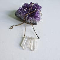 Raw Quartz Crystal Necklace, Clear Quartz Crystal Point Icicle Pendant on Brass Chain