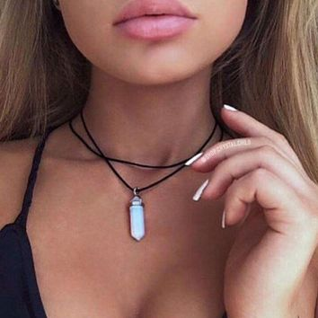 Choose A Crystal. Double Choker Necklace. Healing Crystal Choker Necklace. 90s Grunge Choker Boho Hippie Crystal Point +gift Box