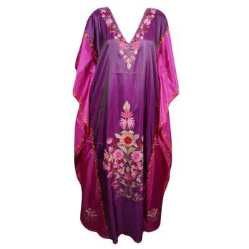 Mogul Beach Wear Kimono Silk Blend Embroidered Bikini Coverup Caftan Dress Kaftan Kimono Sleeve Maxi Dress Indian Style Bohemian Designer Kaftan - Walmart.com