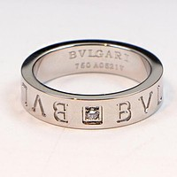 """BVLGARI"" Trending Women Stylish Word Single Diamond Stainless Steel Ring Jewelry Silvery I-HLYS-SP"