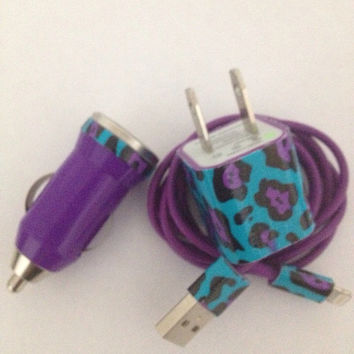 Funky purple cheetah print customized iPhone 4/4S IPhone 5 charger 3 in 1