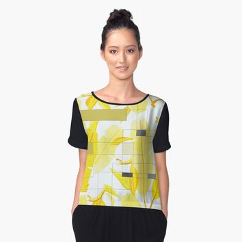 'Yellow Deco' Women's Chiffon Top by nileshkikuchise