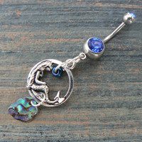 abalone mermaid belly ring mermaid siren charm abalone in fantasy boho gypsy hippie belly dancer  beach and hipster style