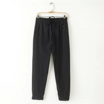 Korean Summer Women's Fashion Stripes With Pocket Zippers Pants [4920285764]