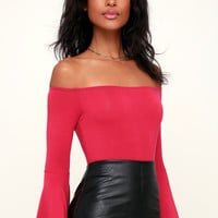 Flirt Factor Berry Red Off-the-Shoulder Top
