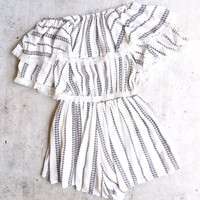 paper heart - playa del carmen striped off-the-shoulder romper - ivory