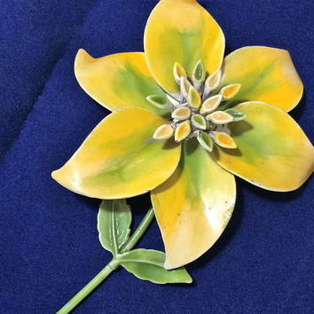 Painted Enamel Flower Brooch Pin Large Yellow Chartreuse Stylized Floral Jewelry Mid Century Era Garden Party, Spring Summer Fashion 518