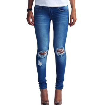 2017 skinny jeans woman low rise pencil pants punk hole designer ripped jeans for women blue denim pants Autumn women jeans